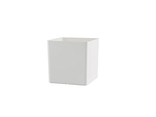 Country Baskets - Vaso Quadrato in plastica, 10,5 cm, Colore: Bianco 10081008003248
