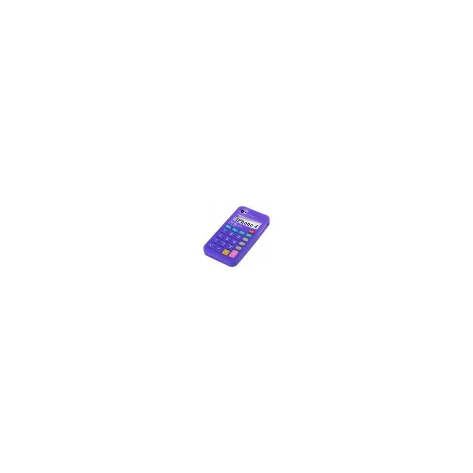 Purple Calculator Design Soft Silicone Skin Gel Cover Case for Verizon Att Sprint Iphone 4 4S + Microfiber Pouch Bag