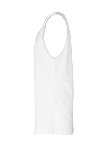 Be Famous Round Oversized Long Tank Top white