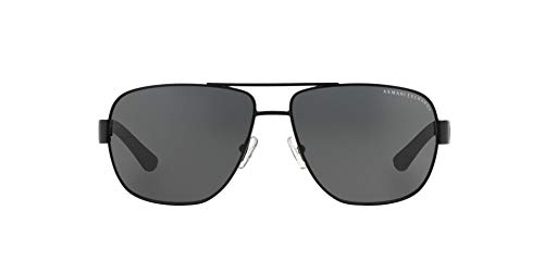 Armani Exchange Men's Metal Man Sunglass 0AX2012S Aviator Sunglasses, Satin black/black, 62 ()