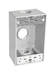 """Sealproof 1-Gang 3 Hole 3/4-Inch Weatherproof Rectangular Horizontal Electrical Outlet Box with Three 3/4"""" Outlet Holes, Single Gang, UL Listed"""