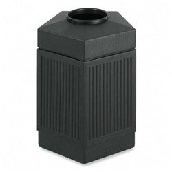 Safco Products Canmeleon Outdoor/Indoor Open Top Pentagon Trash Can 9486BL, Black, Decorative Fluted Panels, 45-Gallon ()