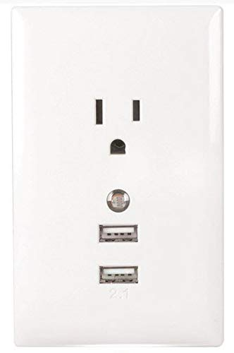 (RCA WP2UNLWF USB Wall Plate with Night Light - White)