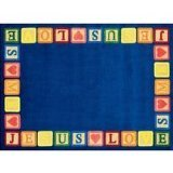 Joy Carpets Kid Essentials Inspirational Round Blocks of Love Area Rug, Multicolored, 5'4