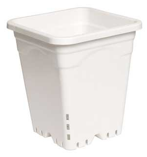 12'' x 12'' Square White Pot, 12'' Tall, (CASE of 24 /6.4 Gallons Each) by Hydrofarm