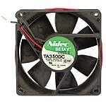 Nidec TA350DC-M33422-16 DC Fan, Ball, 12 Volt, 0.29A, 3.48W, 3100RPM, 48CFM, 34.8dB, Flange Mount, 92 mm L x 92 mm W x 25 mm H (Ball Brushless Bearing)