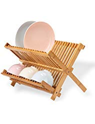 Frond Bamboo Dish Rack Collapsible, Premium Folding Dish Drying Racks for Holding Plates,Glass Cups and Utensils, 2-Tier 18 - Dish Rack Small Bamboo