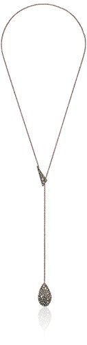 Alexis Bittar Pave Teardrop Lariat Pendant with Pave Shard Rhodium Plating Y-Shaped Necklace by Alexis Bittar