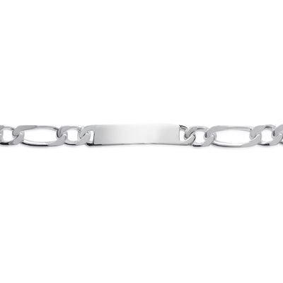 So Chic Bijoux © Bracelet Identité 22 cm Maille Figaro 1-1 Gourmette 10 mm Argent 925 - Personnalisable : Gravure offerte