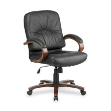 Lorell Mid-Back Managerial Chair, 26-1/2 by 28-3/4 by 42-1/4-Inch, Cherry/Black ()