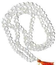 Crystal Quartz (Sphatik) Mala Precious Stones Perfect for Meditation Crystal Jaap Sphatik Mala 7 mm (108+1) Transparent Beads