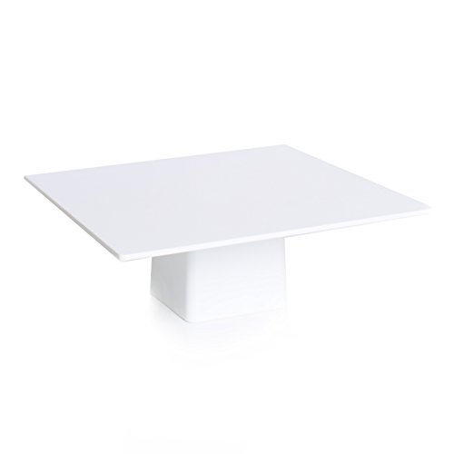 Sugar & Cloth White Melamine Modern Square Cake Stand