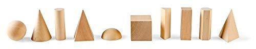 hand2mind Wood Geometric Solid Blocks, 3D Shapes (Set of 10)