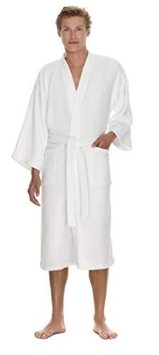 - Boca Terry Mens Robe - Plush Kimono Bathrobe for Men - Thick & Warm Microterry Bathrobe - Medium/Large White