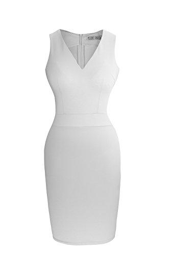 Heloise Women's Bodycon Sleeveless V-Neck Little White Cocktail Party Dress (M, Off White) (White Dress For Teenager)