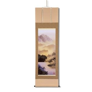 掛け軸 【尺五】 熊谷千風 「山水黎明」 桐箱入り 日本製 B07PD9JM7Y