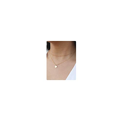 - So Pretty Dainty Layered Gold Coin Choker Necklace Handmade Disc Pendant Layering Necklace Set for Women Girls