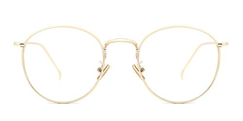 Single Lens Mount - TIJN Women Metal Circle Eyeglasses Fashion Full Rim Round Thin Artist Frame-Henk