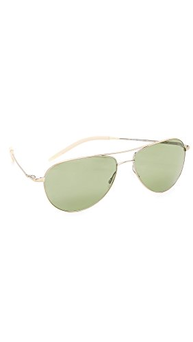 Oliver Peoples Eyewear Men's Benedict Polarized Sunglasses, Antique Gold/Jade Polar, One - Oliver Peoples Benedict