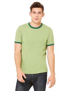 (Bella 3055 Mens Jersey Short Sleeve Ringer Tee - Heather Green & Forest, Extra Large)