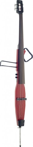 Stagg EDB-3/4RDL TR Deluxe Electric Double Bass with Gigbag, Transparent Red (Upright Bass Neck)