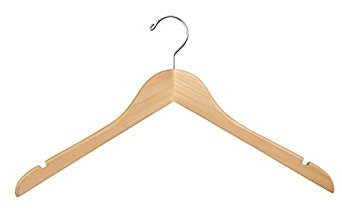 Wood Hangers (Pack of 100) - Wishbone Wooden Retail Hanger with Chrome Hook, No Bar, 17'', Natural Wood by Econoco