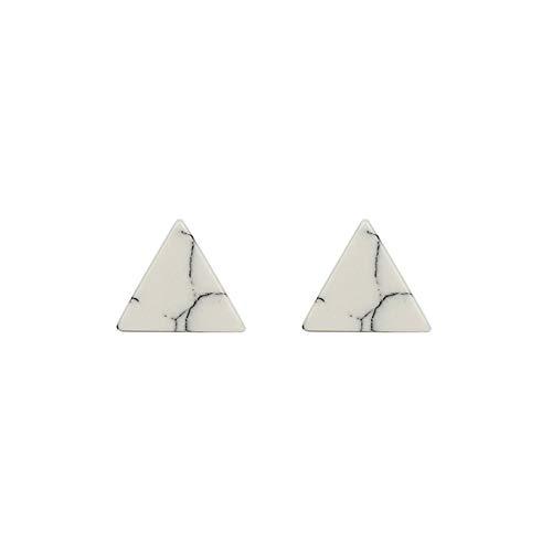 Simple Marble-Textured Black White Pine Earrings Round Triangular Stud Earrings (white triangle)