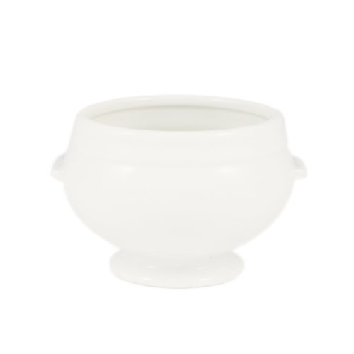 CAC China LN-12-P1 Lion Head 5-3/4-Inch by 4-3/4-Inch by 3-1/2-Inch 12-Ounce Super White Porcelain Lion Head Bouillon, Box of 24 ()