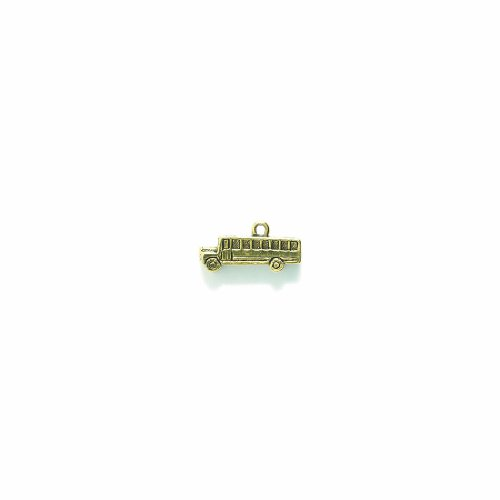 Shipwreck Beads Pewter School Bus Charm, Antique Gold, 10 by 20mm, 3-Piece