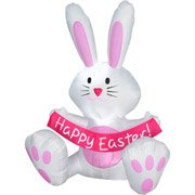4 Foot Happy Easter Bunny Airblown Inflatable