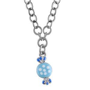 1001 Bijoux - Collier enfant argent rhodié bonbon bleu - 40cm réglable 37