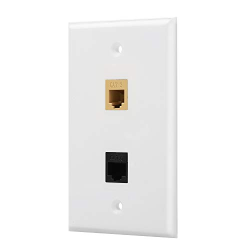 IBL- 1 Port Cat6 Ethernet + 1 Port Cat3 RJ11/RJ12 Phone Jack Inline Coupler Female to Female Keystone Wall Plate in White