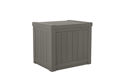 Suncast 22-Gallon Small Deck Box - Lightweight Resin Outdoor Storage Deck Box and Seat for Patio Cushions, Gardening Tools and Toys - Stone Gray (Boxes Square Wicker Storage)