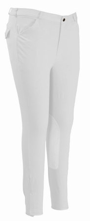 TuffRider Men's Patrol Knee Patch Breeches (Long), White, 44