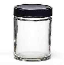 (Case of 12) Round 2 oz Tall Glass Jar - 38 mm Ribbed Black Screw Top