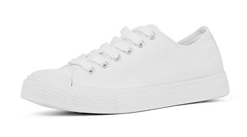 White Canvas Sneakers - VenusCelia Pro Women's Perforated Skate Shoe (7.5 M US, White)
