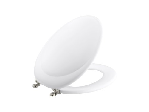KOHLER K-4615-BN-0 Revival Elongated Toilet Seat with Vibrant Brushed Nickel Hinges, White
