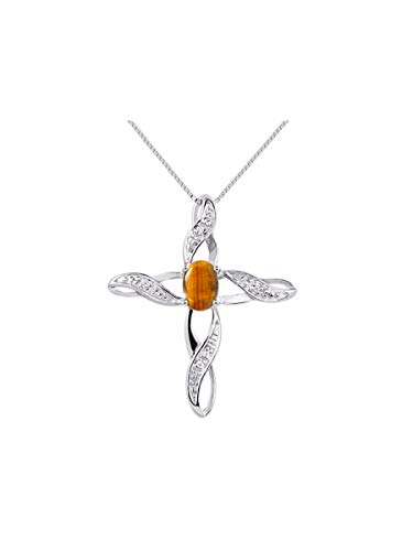 (Diamond & Genuine Natural Tiger Eye Cross Pendant Necklace Set In Sterling Silver .925 with 18