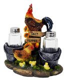 Farm Rooster and Chicken Salt and Pepper Shakers (Pepper Rooster)