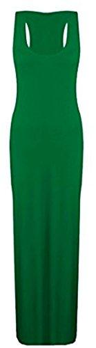 Las mujeres señoras chaleco Racer muscular espalda Jersey Vestido Largo de verano Maxi Plus tamaño 8–�?8 Verde