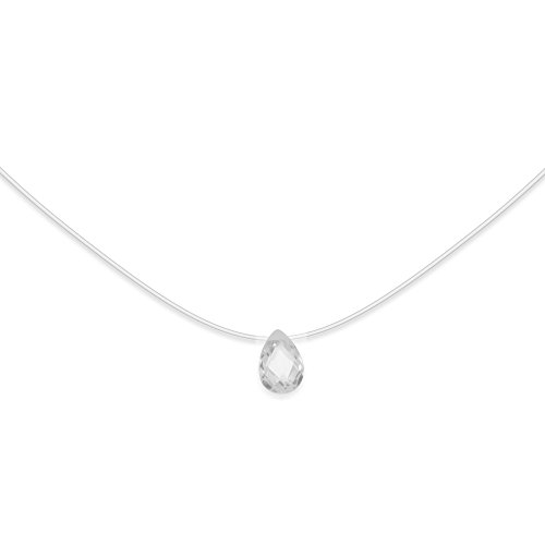 Collier Argent 925 Zirconium Goutte 10x7 mm Cordon Nylon Transparent