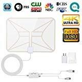 TV Antenna White, Indoor Digital HDTV Antenna 4K 1080P 60-80 Miles Range