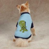 Casual Canine ZM3463 14 19 Dino Dog Raglan Tee for Dogs, Small/Medium, Blue