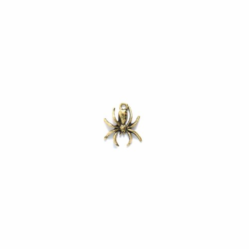 Shipwreck Beads Pewter Spider Charm, Antique Gold, 16 by 18mm, 6-Piece - Spider Charm Pewter