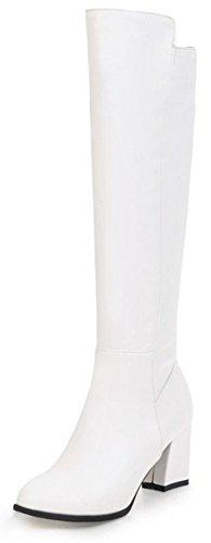 Aisun Womens Simple Habillé Roundtoe Pull Mi-chunky Talon Genou Haute Bottes Blanc