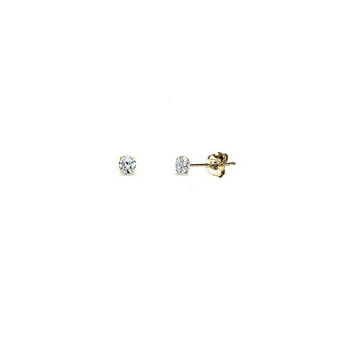 14K Gold Cubic Zirconia Small 4mm Round Stud Earrings for Men Women Boys Girls ()