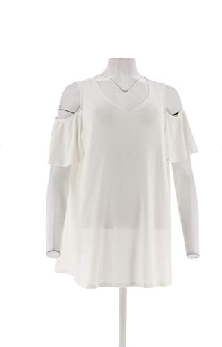 H Halston Knit Crepe V-Neck Ruched Cold Shoulder Top White L New A308098 from H by Halston