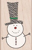 Tall Hat Snowman Wood Mounted Rubber Stamp (E4855)