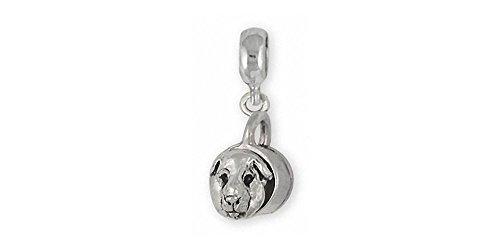 Guinea Pig Jewelry Sterling Silver Guinea Pig Charm Slide Handmade Piggie Jewelry GP12-PNS