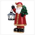 Santa Homespun - Homespun Santa Claus Holding Lantern Candle Light Stand